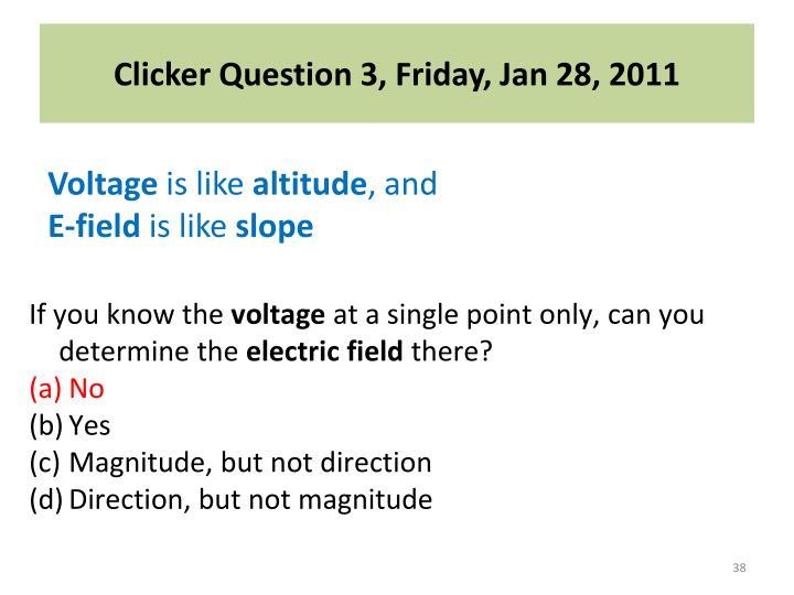 Clicker Question 3, Friday, Jan 28, 2011