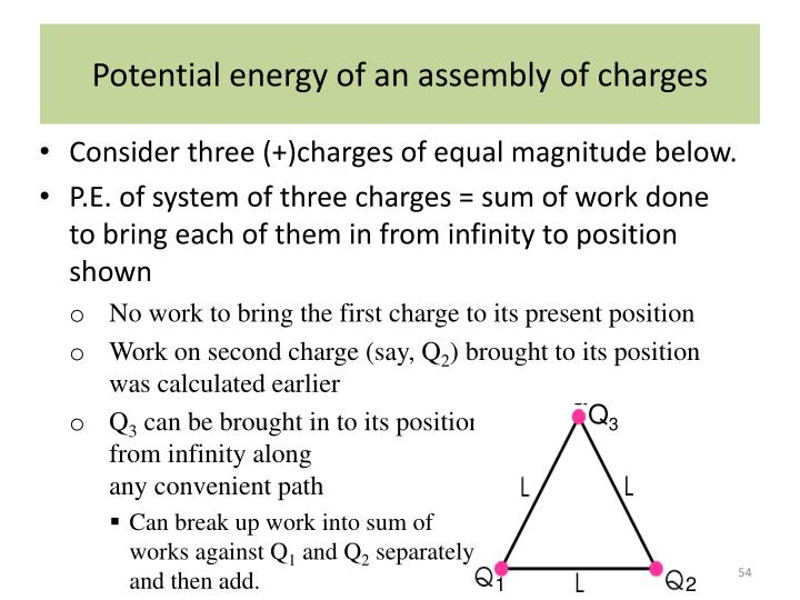 Potential energy of an assembly of charges