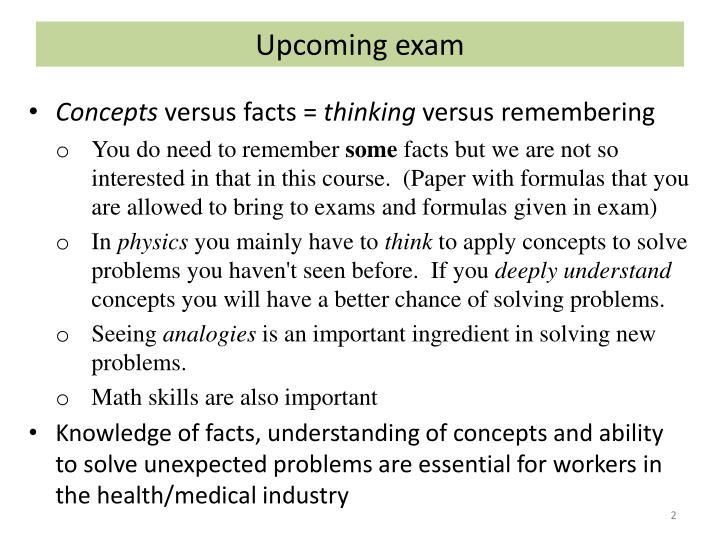 Upcoming exam