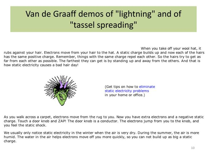 "Van de Graaff demos of ""lightning"" and of ""tassel spreading"""