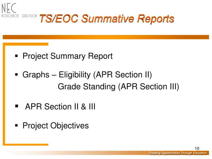 TS/EOC Summative Reports