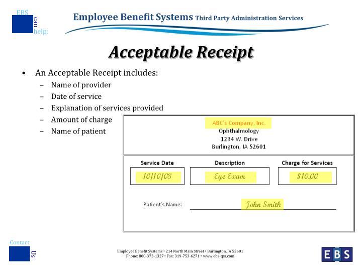Acceptable Receipt