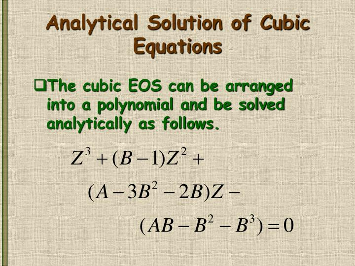 Analytical Solution of Cubic Equations