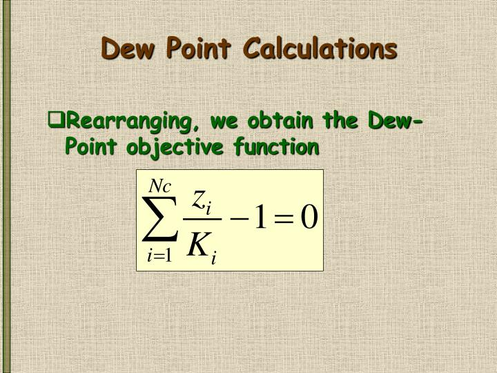 Dew Point Calculations