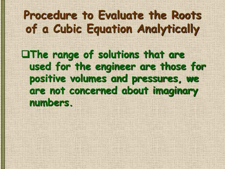 Procedure to Evaluate the Roots of a Cubic Equation Analytically