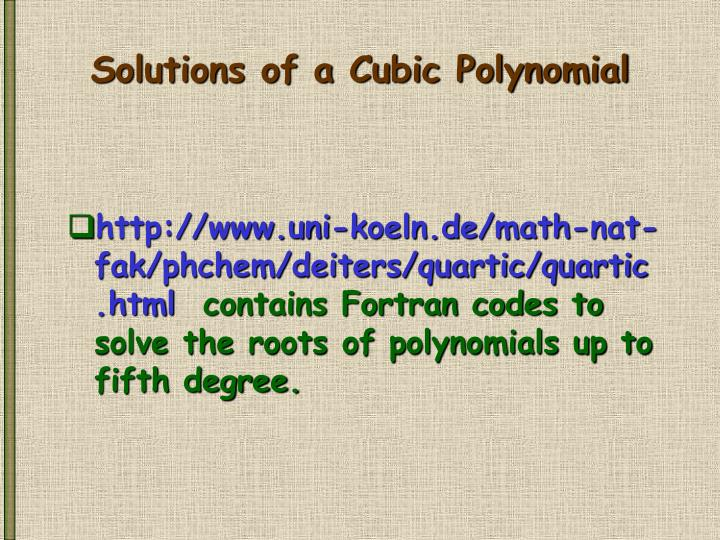 Solutions of a Cubic Polynomial