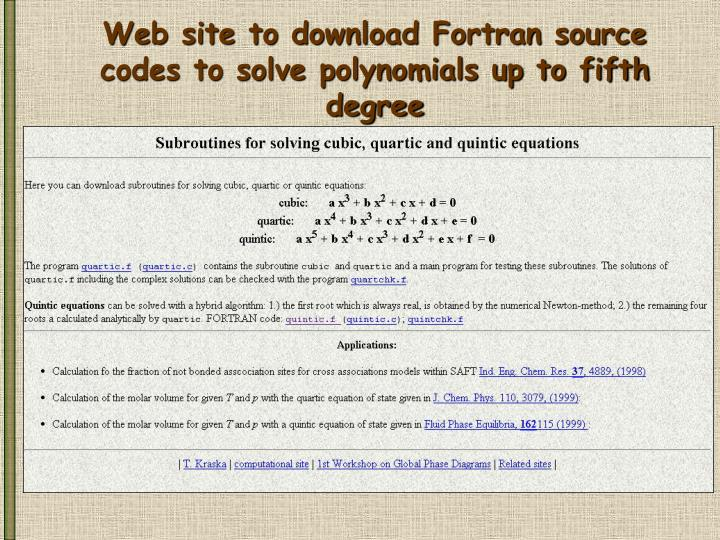 Web site to download Fortran source codes to solve polynomials up to fifth degree
