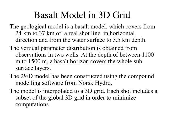 Basalt Model in 3D Grid