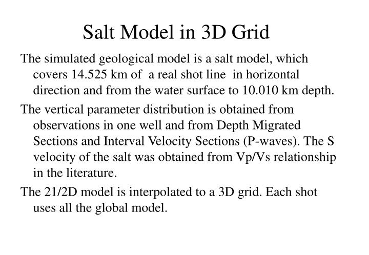 Salt Model in 3D Grid
