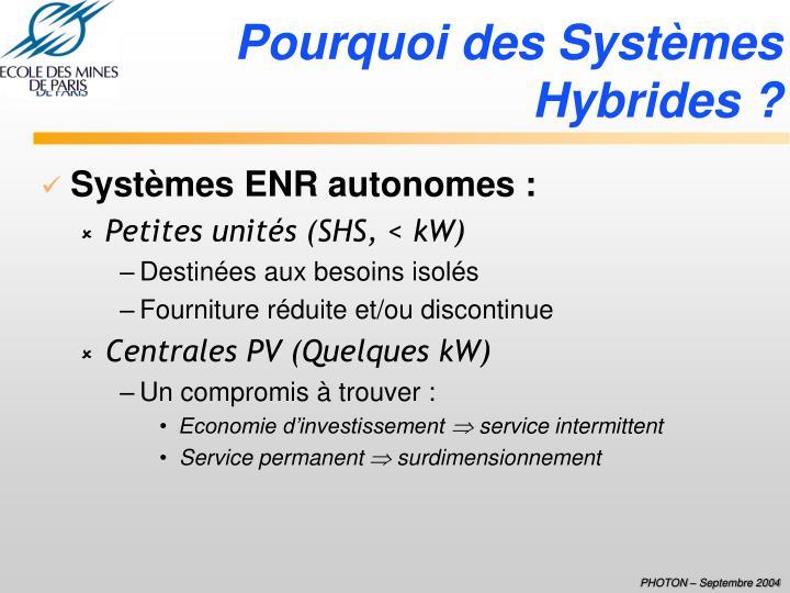 Pourquoi des Systèmes Hybrides ?