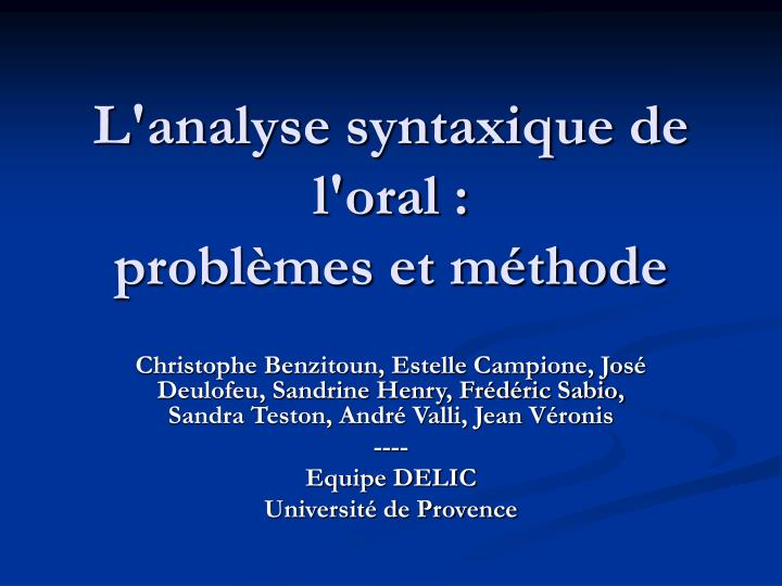 L'analyse syntaxique de l'oral :
