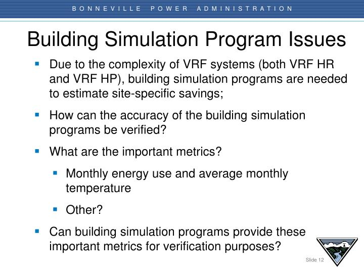 Building Simulation Program Issues