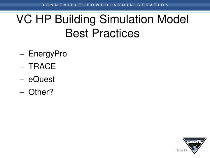 VC HP Building Simulation Model