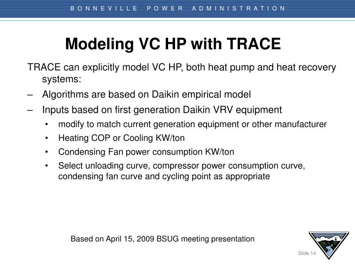 Modeling VC HP with TRACE