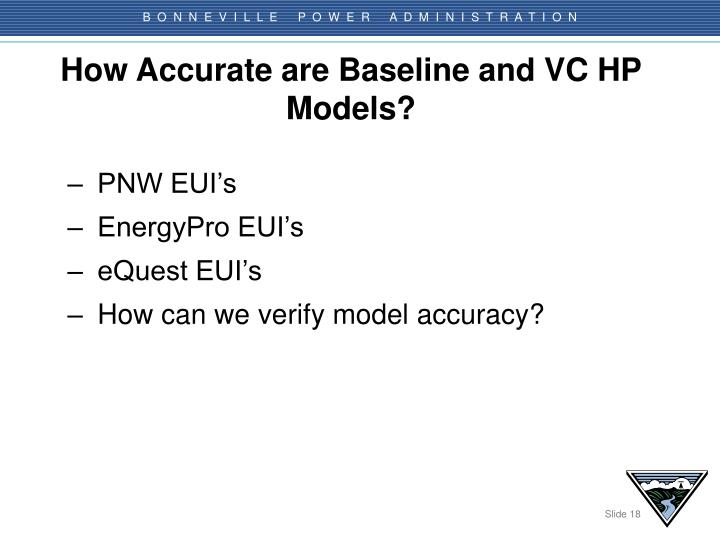 How Accurate are Baseline and VC HP Models?