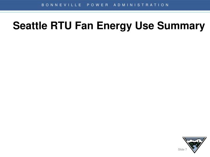 Seattle RTU Fan Energy Use Summary
