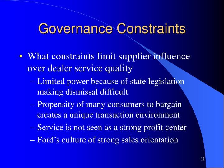 Governance Constraints