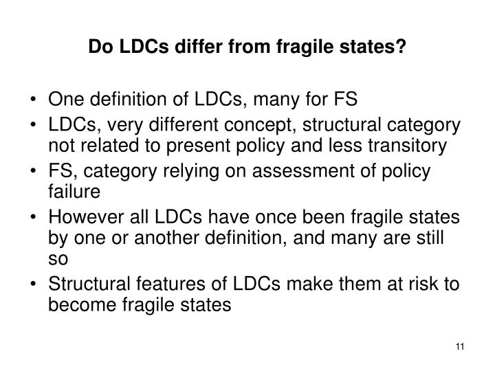 Do LDCs differ from fragile states?