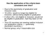 has the application of the criteria been consistent over time
