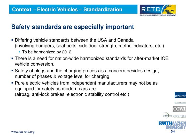 Context – Electric Vehicles – Standardization