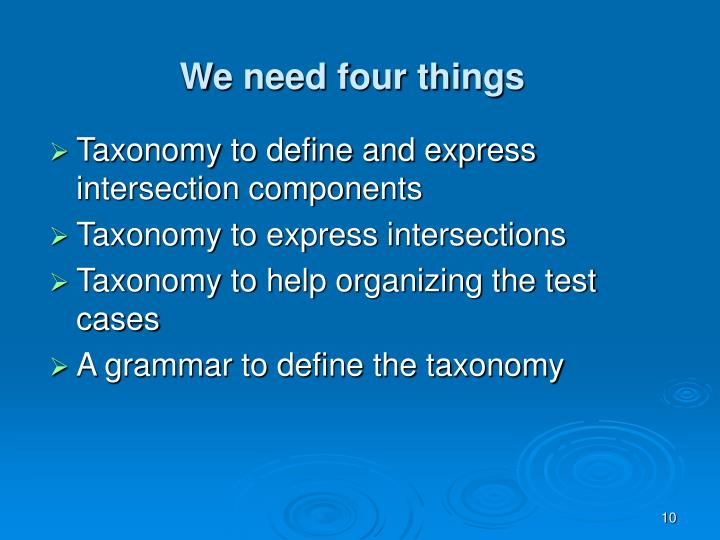We need four things