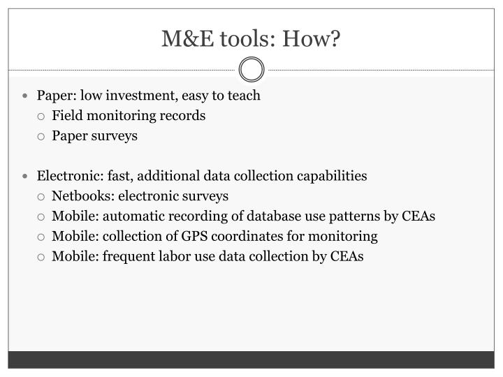 M&E tools: How?