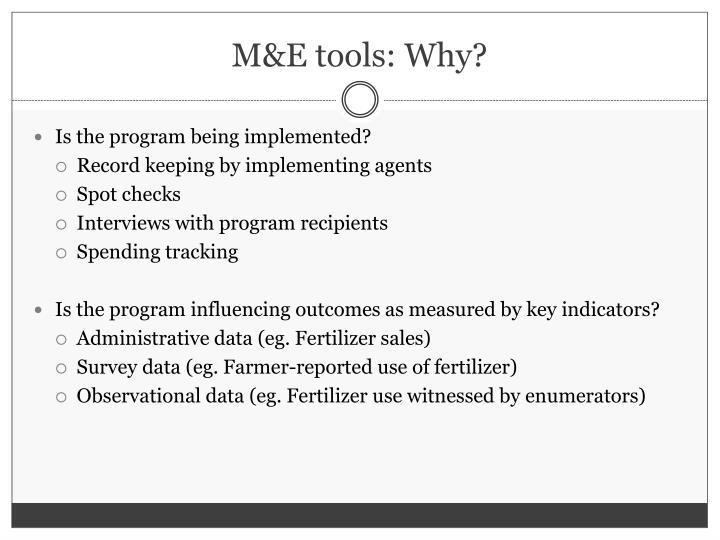 M&E tools: Why?