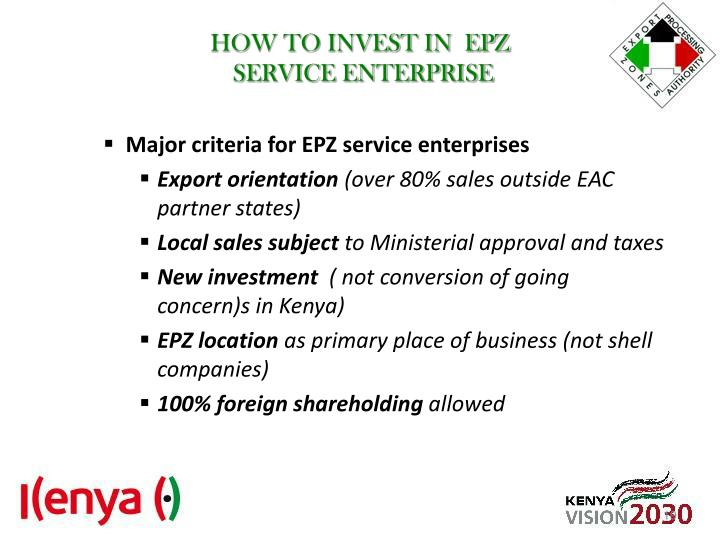 HOW TO INVEST IN  EPZ