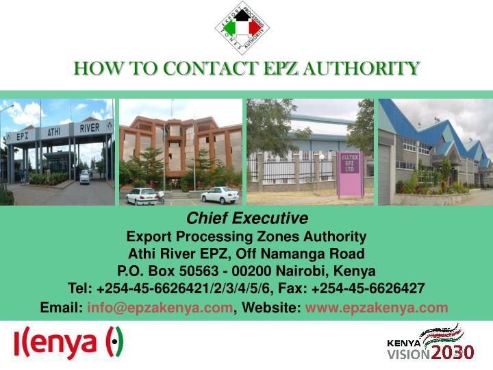 HOW TO CONTACT EPZ