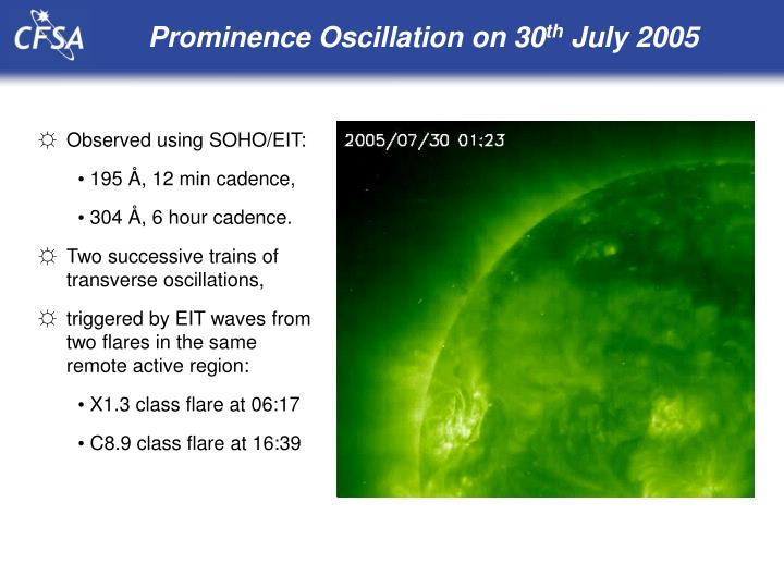Prominence Oscillation on 30