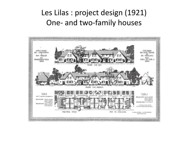 Les lilas project design 1921 one and two family houses