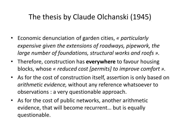 The thesis by Claude Olchanski (1945)