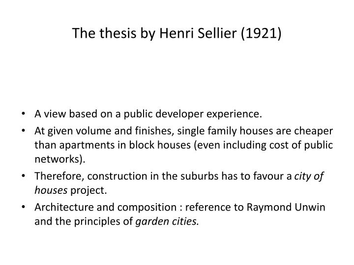 The thesis by Henri Sellier (1921)