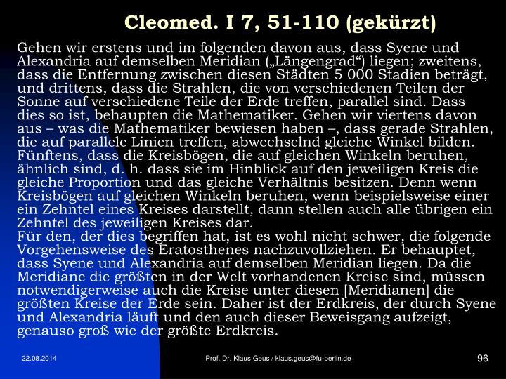 Cleomed. I 7, 51-110 (gekürzt)