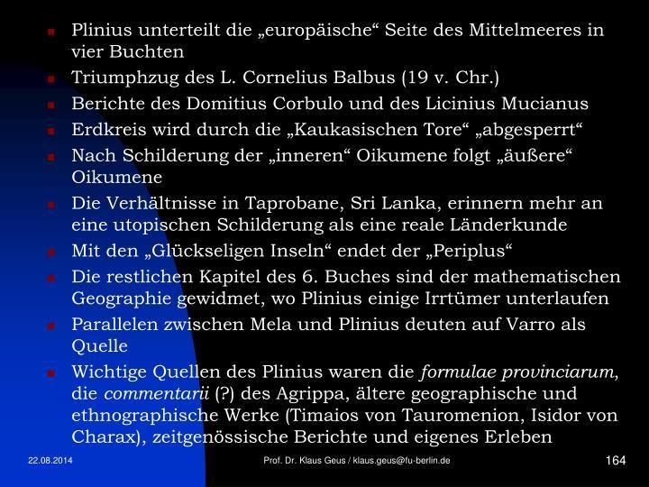 """Plinius unterteilt die """"europäische"""" Seite des Mittelmeeres in vier Buchten"""
