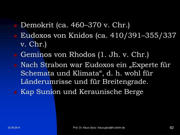 Demokrit (ca. 460–370 v. Chr.)