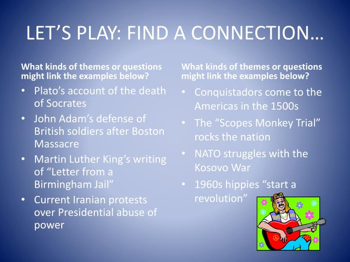LET'S PLAY: FIND A CONNECTION…