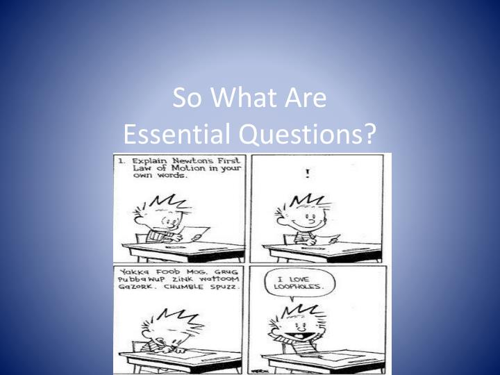 So What Are                           Essential Questions?