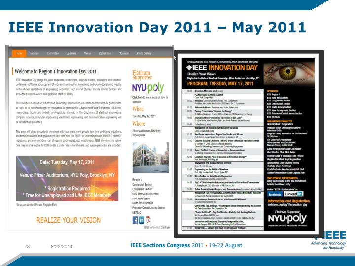 IEEE Innovation Day 2011 – May 2011