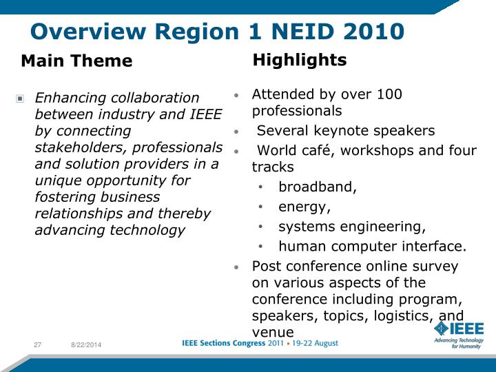 Overview Region 1 NEID 2010