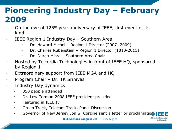 Pioneering Industry Day – February 2009