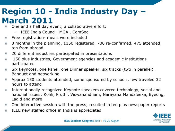 Region 10 - India Industry Day – March 2011