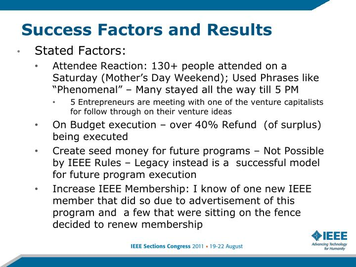 Success Factors and Results
