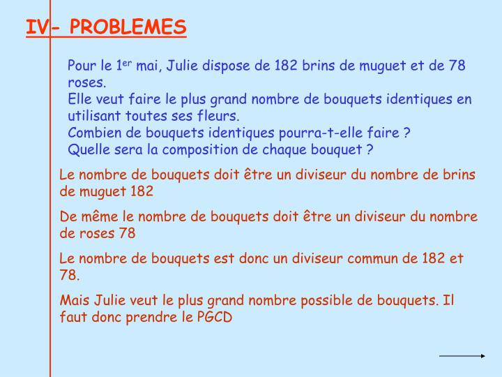 IV- PROBLEMES