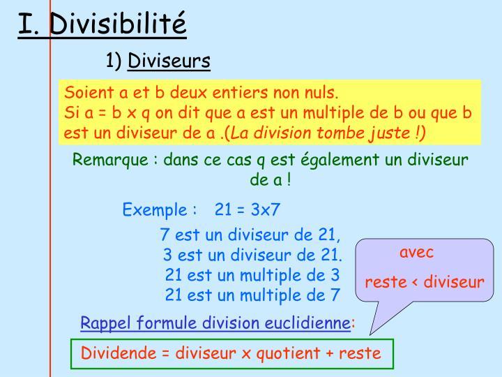 I. Divisibilité