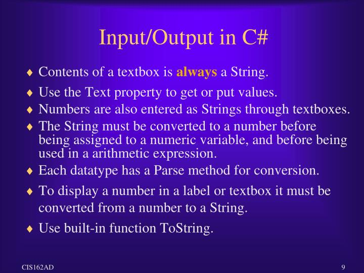 Input/Output in C#
