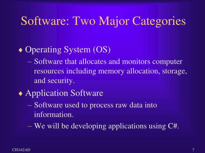 Software: Two Major Categories