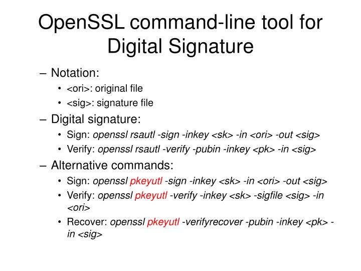 OpenSSL command-line tool for Digital Signature