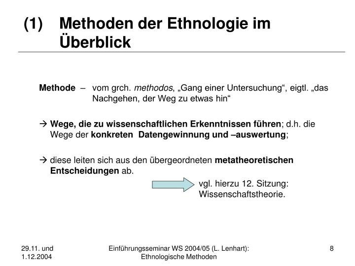 (1)Methoden der Ethnologie im Überblick