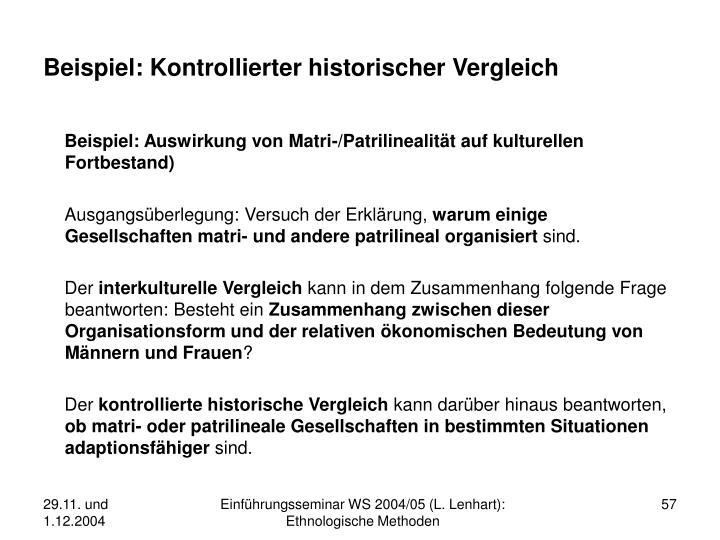 Beispiel: Kontrollierter historischer Vergleich